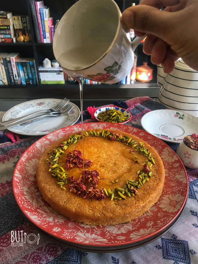 pouring syrup over cream filled kunafa