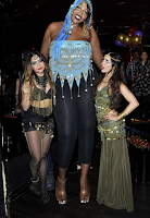 A large size woman and tall