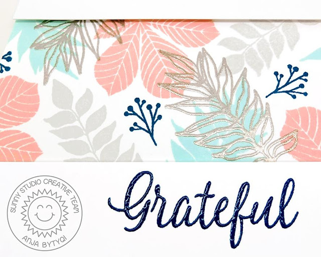 Sunny Studio Stamps: Elegant Leaves Grateful Card by Anja Bytyqi