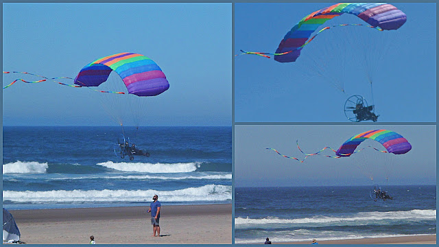 A mix of man, machine and kite flies over the Lincoln beach.