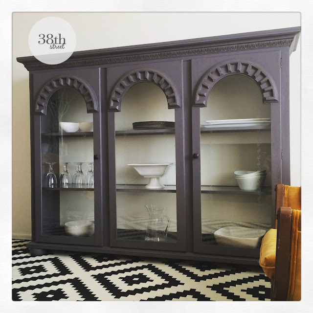 refurbished hutch, painted hutch, hutch makeover, refinished hutch, diy, paint, classico chalk paint, pure & original, burned sand, warm white