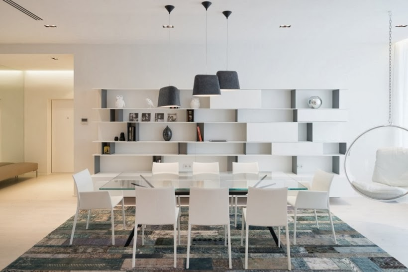 Glass dining table in Minimalist modern apartment in Moscow