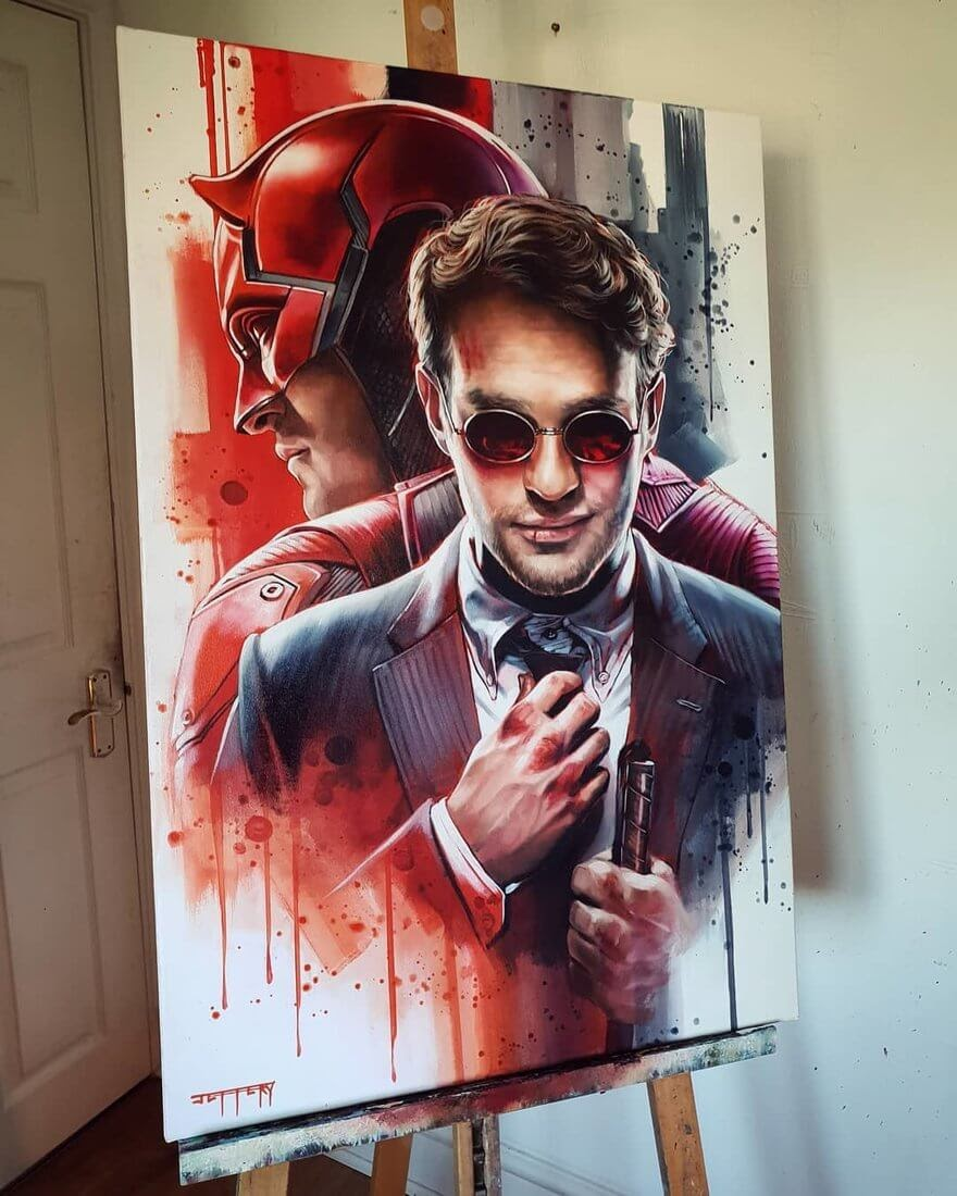 14-Daredevil-Ben-Jeffery-Superhero-and-Villain-Movie-Paintings-www-designstack-co