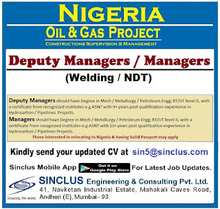 Deputy Managers for Oil & gas Nigeria