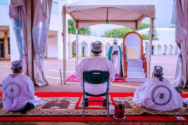 Check out the Lovely Photos of Buhari and his Family as they celebrate Eid El Filtri in Asorock (Photos)