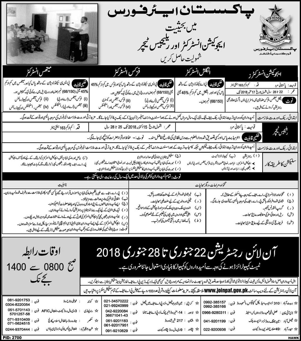 Jobs In Pakistan Air Force for Education Instructor & Religious Teachers in January 2018