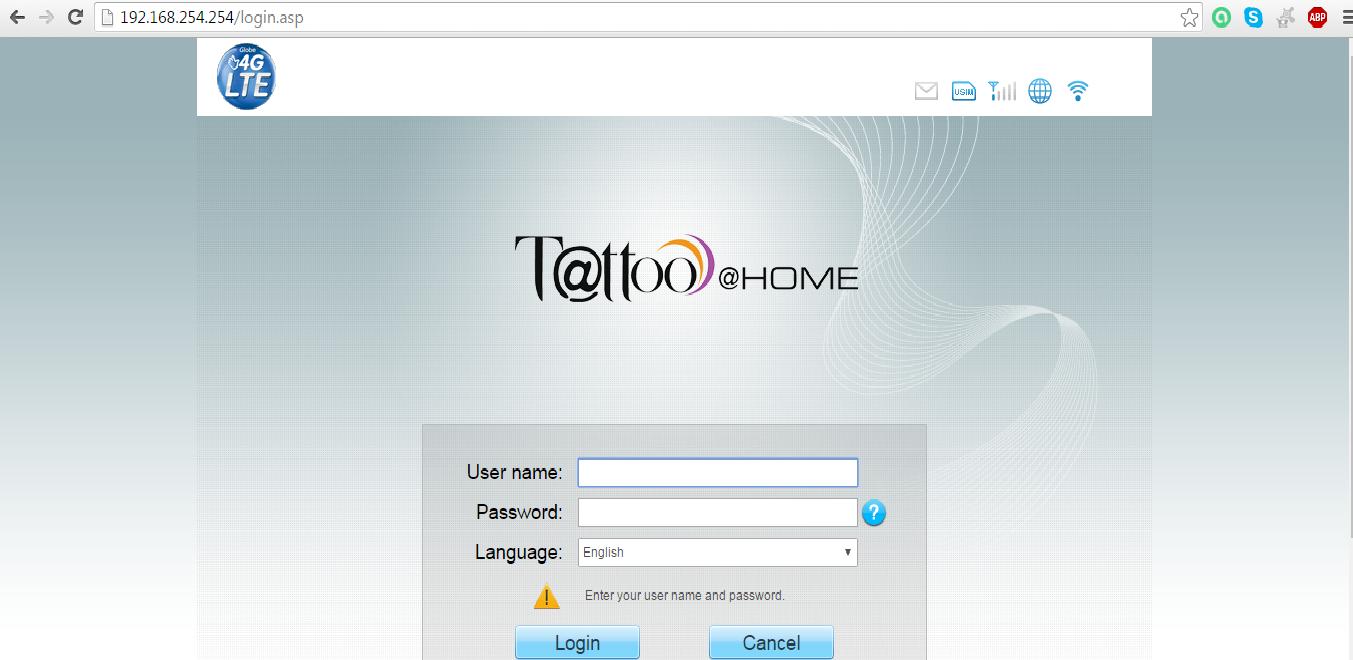 Globe Tattoo Home Broadband (4G LTE) default Modem Username