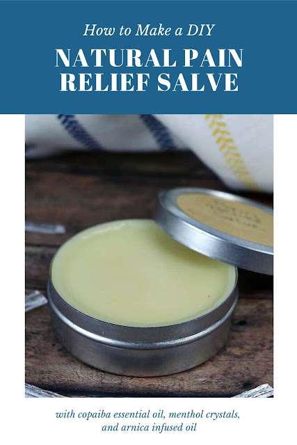 How to make a natural pain relief salve at home. Use this DIY recipe for arthritis and inflammation for sore muscles, knee, back, neck, shoulder, or wherever you have pain and inflammation. This alternative remedies uses copaiba essential oils, menthol crystals, and arnica infused oil to make a salve or cream. #painrelief #essentialoils #copaiba