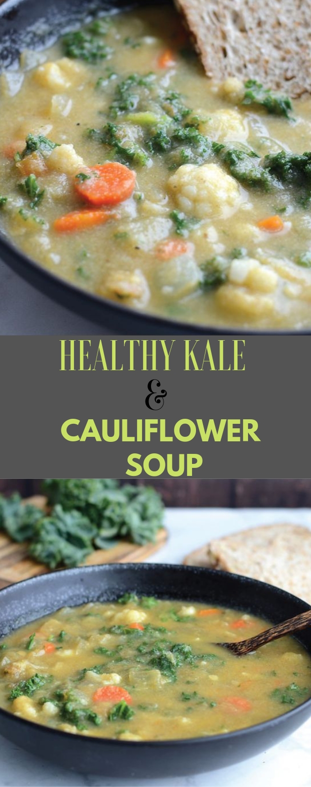 HEALTHY KALE AND CAULIFLOWER SOUP #soup #cauliflower