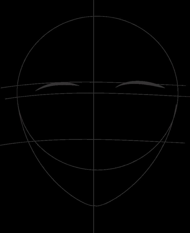 Cara menggambar wajah anime tampak depan