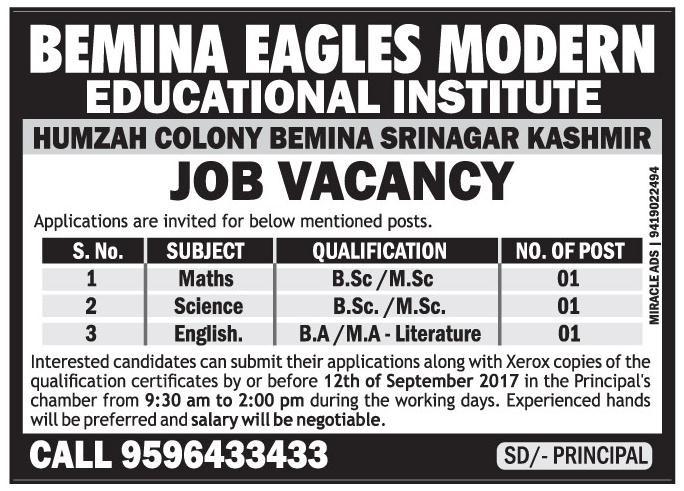 Bemina Eagles Modern Institute has job vacancies