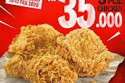 KFC Promo 3 PCS Chicken (3 Potong Ayam) Harga Mulai Rp.35.000 Periode 10 - 13 Februari 2020