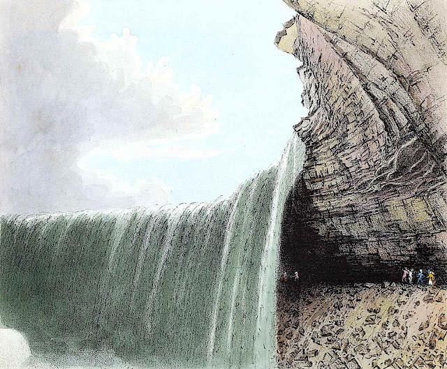 1831 Niagara Falls, a color illustration of people walking behind the falls