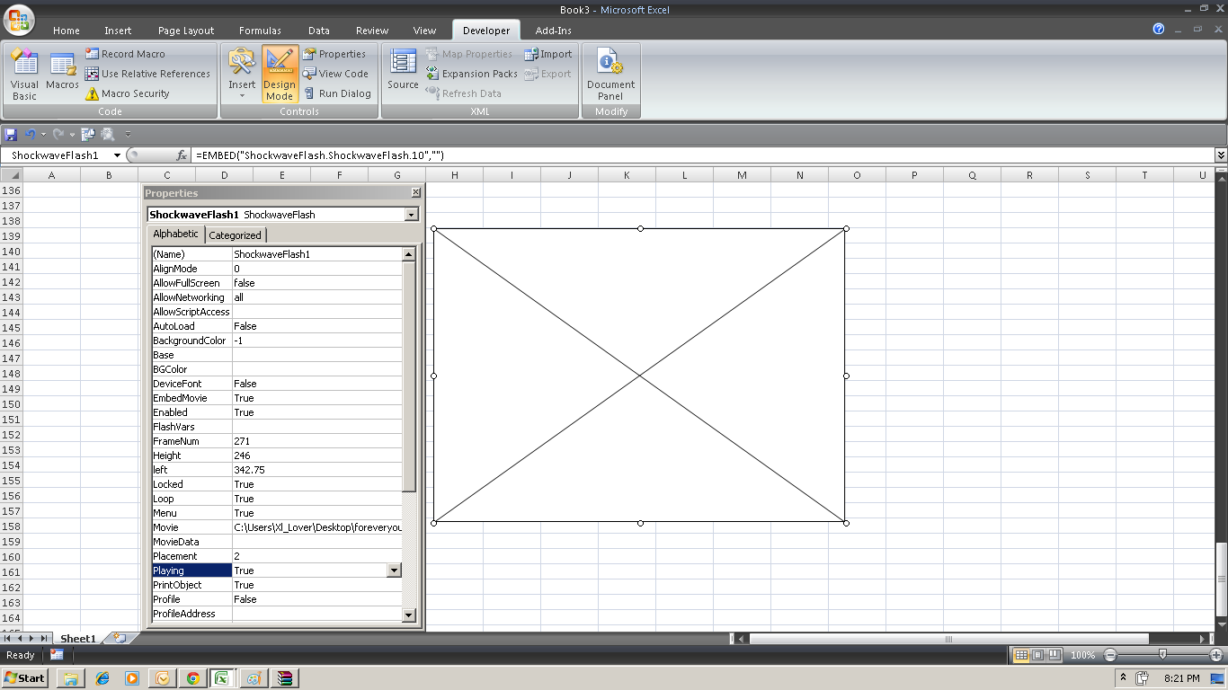Excelpoweruser Embaded Flash Object In Excel