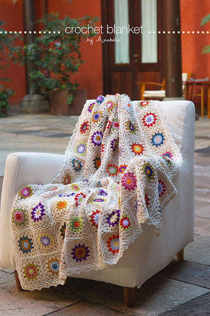 Sofa size crochet blanket by Anabelia Craft Design