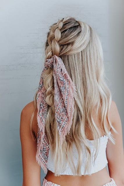 Peinados con bandanas semirecogido con trenza