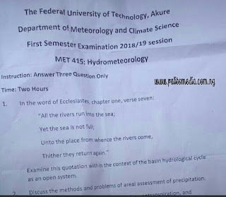 Trending! FUTA Quoted Bible Verse To Set Exam Question For Students