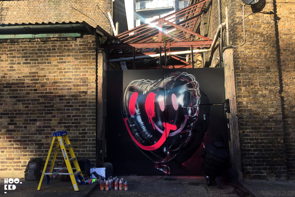Street Artist Fanakapan debrand/ rebrand Mural in London, UK.