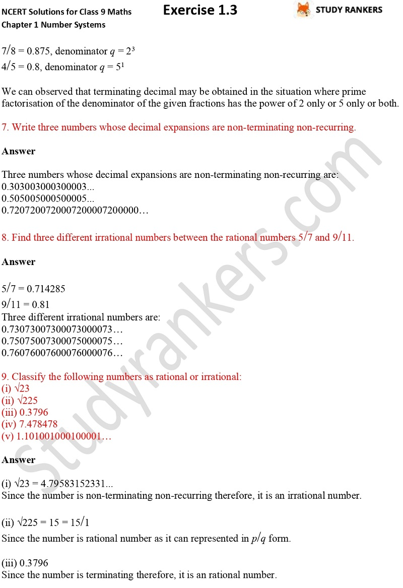 NCERT Solutions for Class 9 Maths Chapter 1 Number Systems Exercise 1.3 Part 4