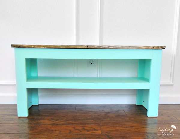 Teal shoe bench