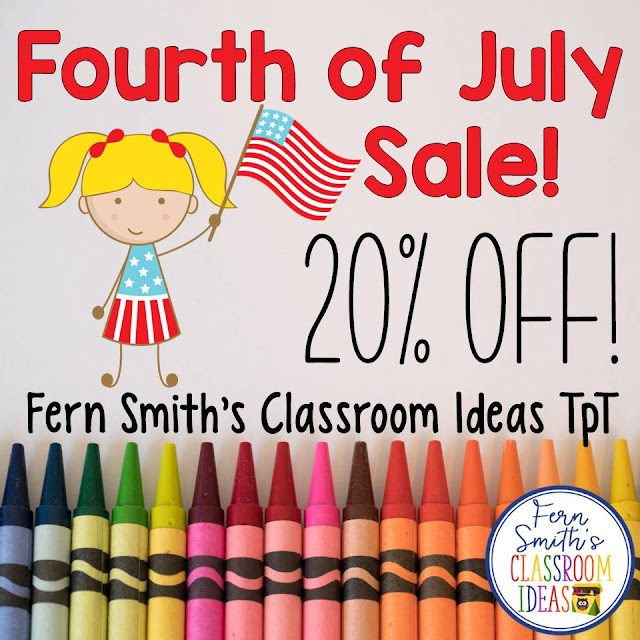 Tonight and tomorrow my TeacherspayTeachers store is on sale! 20% off to celebrate the Land of the Free Because of the Brave! Happy Fourth of July! #FernSmithsClassroomIdeas
