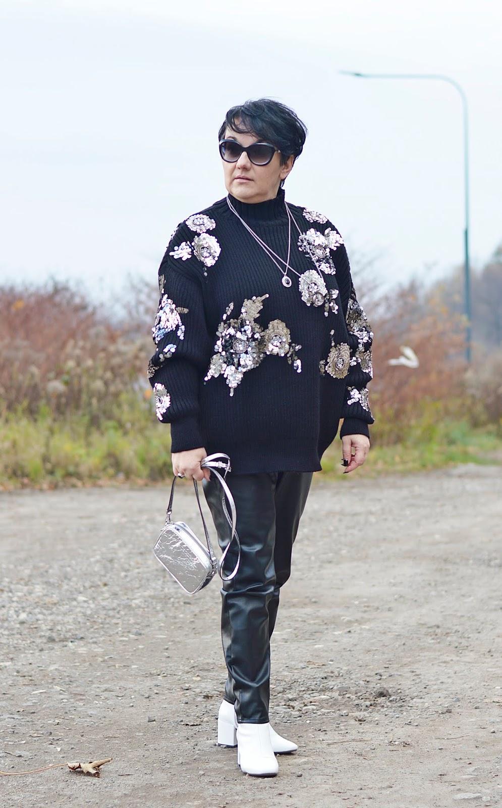 SKÓRZANE SPODNIE, Black and white fashion, black and white winter