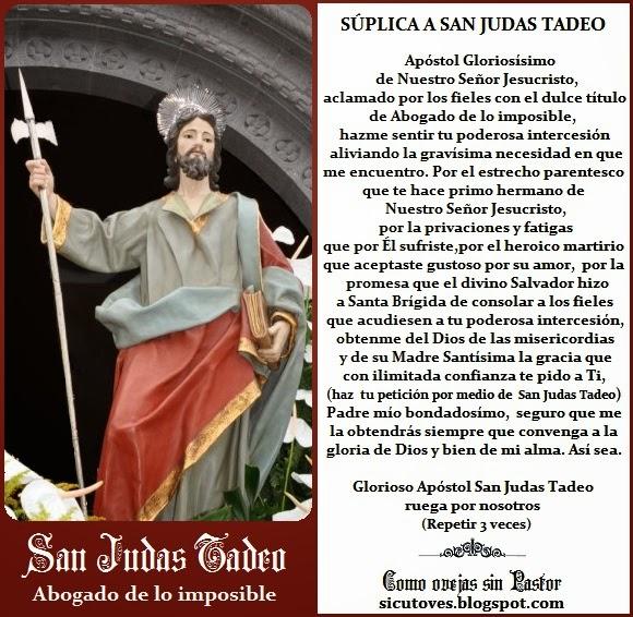Como Ovejas Sin Pastor San Judas Tadeo Abogado De Lo Imposible