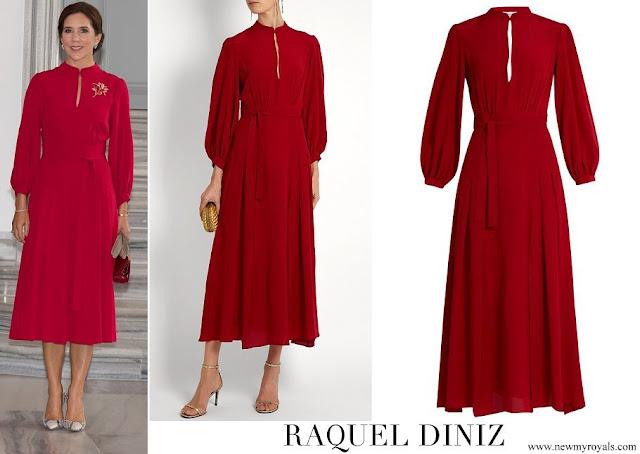 Crown Princess Mary wore Raquel Diniz Armonia red silk georgette dress