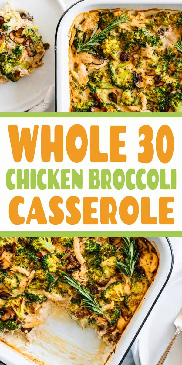 Whole30 casserole recipe with shredded chicken, sautéed mushrooms and broccoli, then topped with my Vegan Alfredo Sauce for an easy and healthy weeknight dinner. It's also a dairy-free and paleo casserole recipe. #whole30 #whole30recipes #casserole