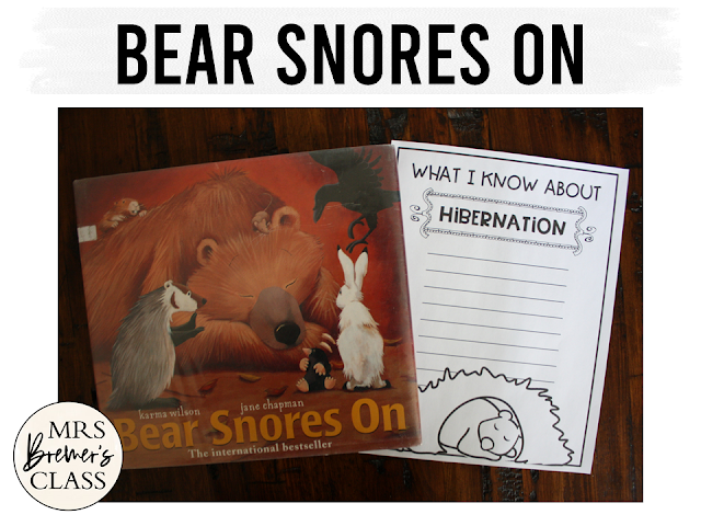 Bear Snores On book study activities unit with Common Core aligned literacy companion activities for Kindergarten and First Grade