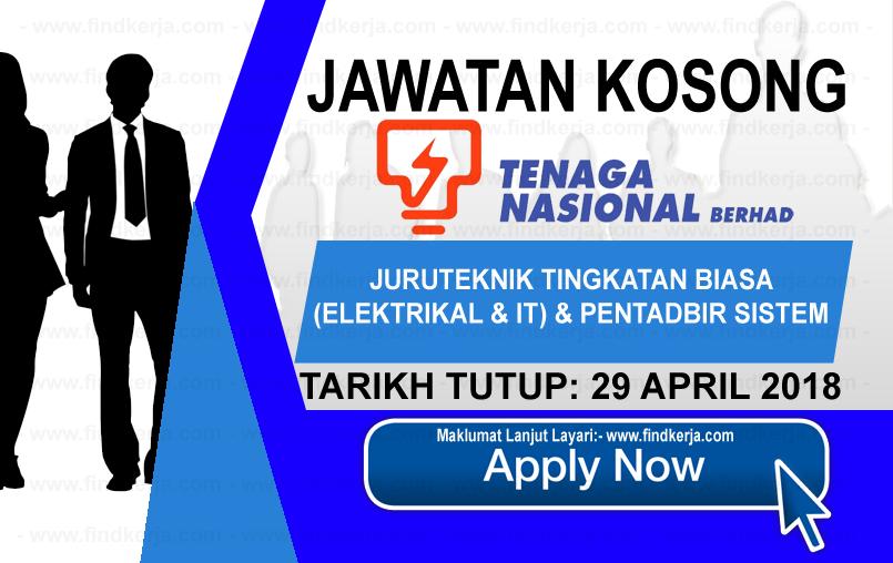 Jawatan Kerja Kosong TNB - Tenaga Nasional Berhad logo www.findkerja.com april 2018