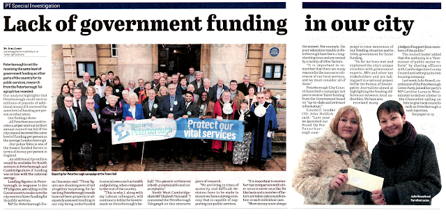 Article from the Peterborough Telegraph: Lack of government funding in our city