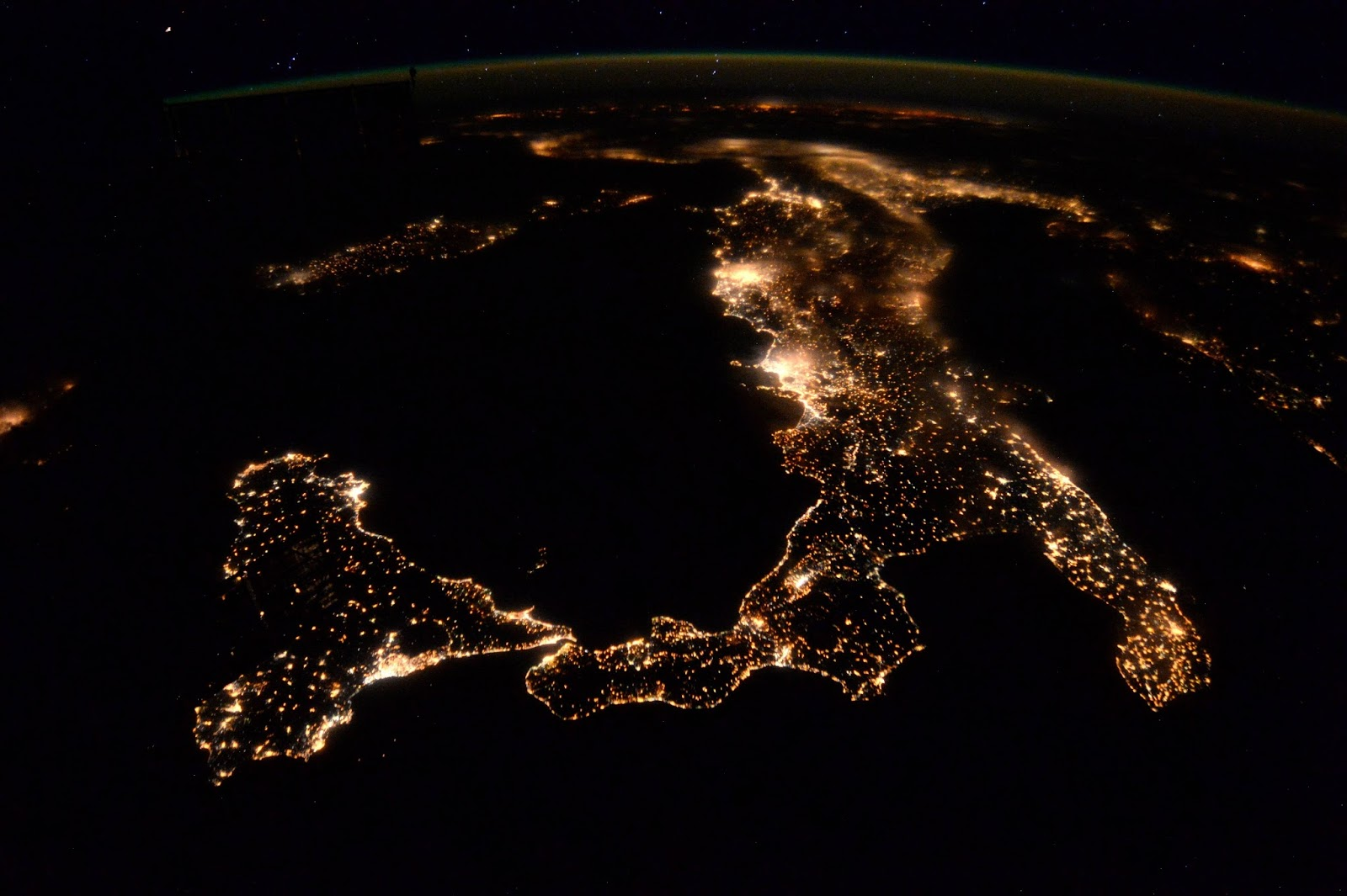 Italy at night from the International Space Station by astronaut Tim Peake.