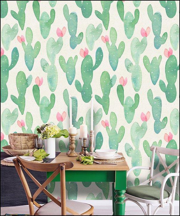 Watercolor Cactus wallpaper exotic plants tropical theme cactus decor