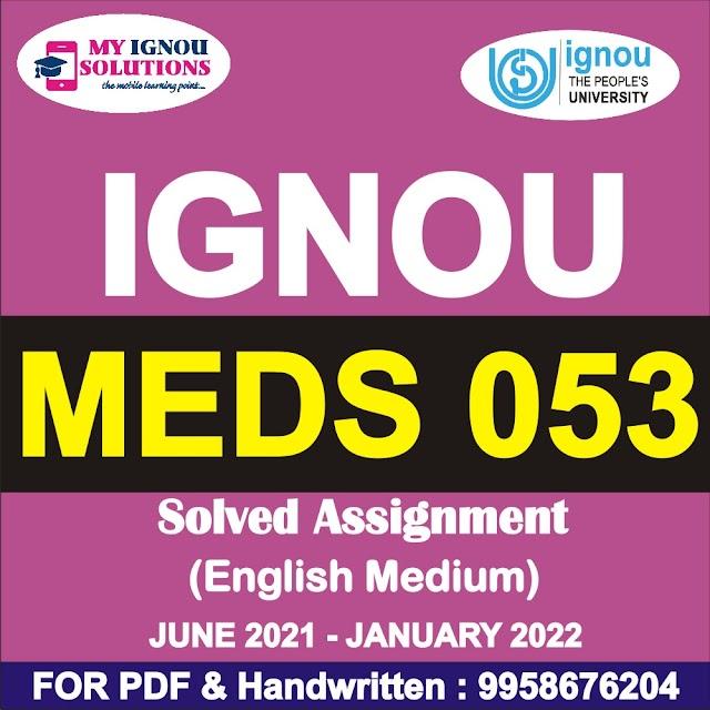 MEDS 053 Solved Assignment 2021-22