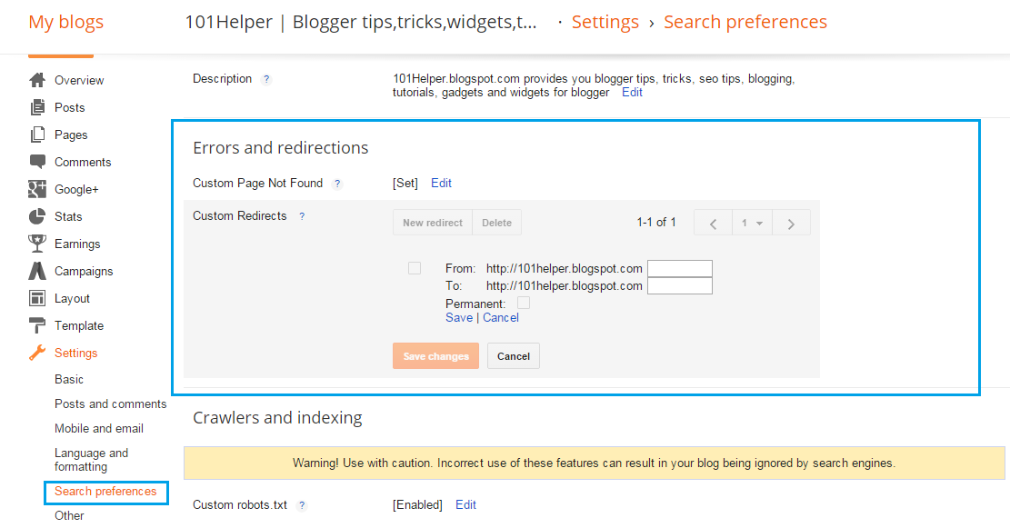 how to set redirections in blogger blog
