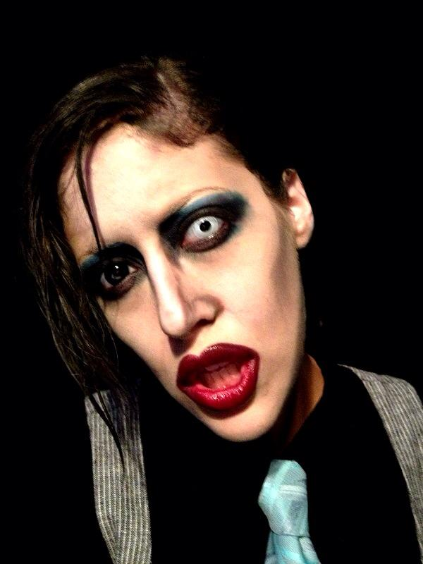 Carly Paige made up as Marilyn Manson