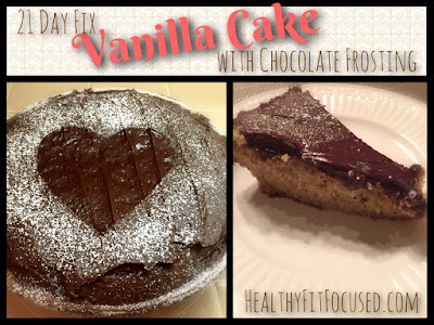 21 Day Fix Vanilla Cake with Chocolate Frosting, www.HealthyFitFocused.com, Julie Little