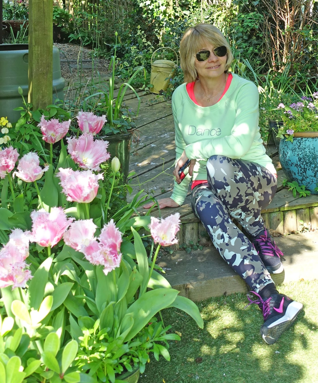 Style Not SAge Challenge: over 50s blogger Gail Hanlon from Is This Mutton? in camo leggings and pale green sweatshirt