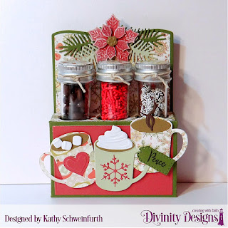 Stamp/Die Duos: Cocoa & Coffee, Deer Ornament ('peace' word), Custom Dies:  Test Tube Trio, Peaceful Poinsettia, Pinecones & Pine Branches, Paper Pad: Retro Christmas, Other: Small Test Tubes