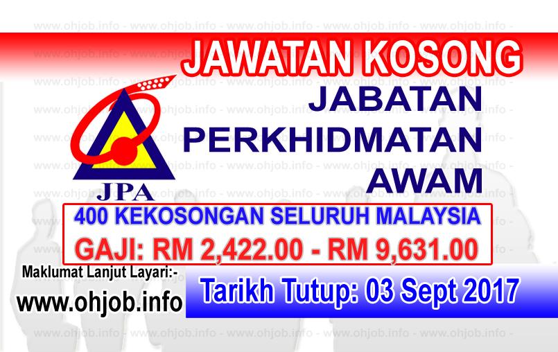 Jawatan Kerja Kosong Jabatan Perkhidmatan Awam Malaysia - JPA logo www.ohjob.info september 2017