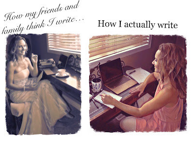 Stereotype image of author Alexia Chantel sitting at her desk in a ballgown as she eats chocolate vs actual writing image of Alexia sitting at a desk in a simple dress as she works on her laptop surrounded by notebooks and sticky notes.
