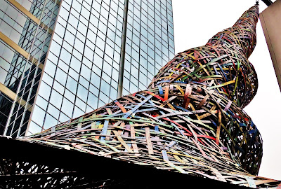 "Stick-sculpture ""Trumpet Flower"" at Main Street Square Downtown Houston Texas"