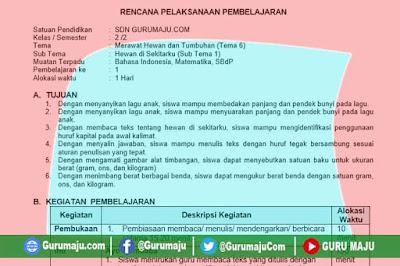 RPP Kelas 2 Tema 6 K13 Revisi 2021 Format 1 Lembar