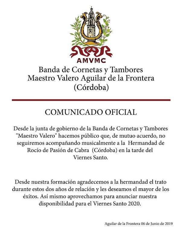 Rocío de Pasión de Cabra cambariará de acompañamiento musical