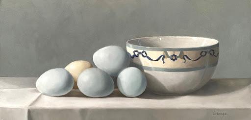 pale blue eggs, vintage china bowl, still life
