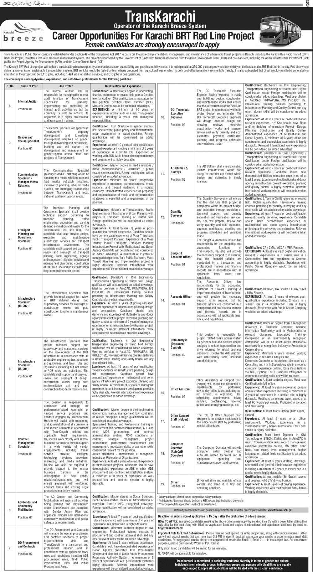 TransKarachi Public Sector Company AFD Project Karachi BRT Red Line Jobs 2021