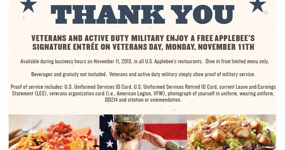 Free Food For Vets At Applebees