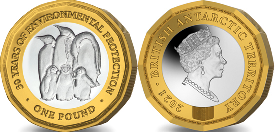 British Antarctic Territory 1 pound 2021 - 30th Anniversary of the Protocol on Environmental Protection in Antarctica