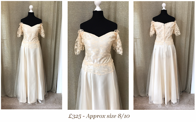 off the shoulder lace chiffon detail sweetheart 1970's bohemian boho ethereal vintage wedding dress from vintage lane bridal boutique bolton